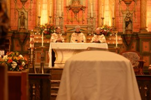 Funeral Mass with the Franciscan friars.